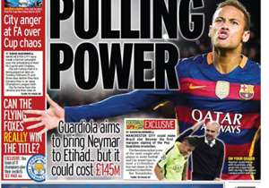 <strong>THE DAILY MIRROR | UK | PULLING POWER |</strong> Guardiola aims to bring Neymar to Etihad... but it could cost £145M