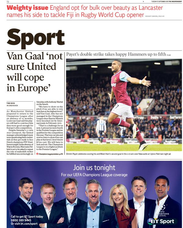 Epl Matches Live On Rcti Indonesia Tv Channel: The Independent Backpage 15-09-2015