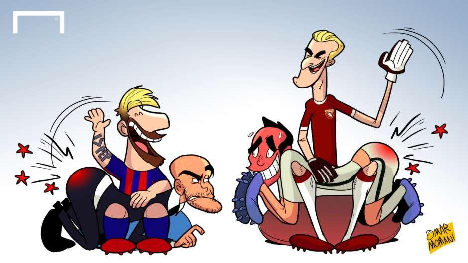 Cartoon 20102016 Lionel Messi spanking Pep Guardiola