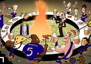 "Pizza and hotdogs for all! Leicester celebrate beating 5000/1 odds with a feast curated by the no longer ""nearly man"" Claudio Ranieri. Congratulations!"