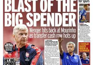 <strong>DAILY MIRROR | UK | BLAST OF THE BIG SPENDER |</strong> Wenger hits back at Mourinho as transfer cash row hots up <br /><br />PLUS:<strong> McCarthy is primed for Spurs
