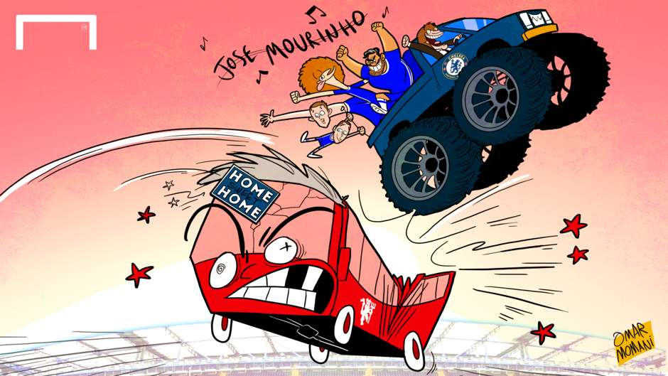 CARTOON Conte destroys Mou's bus