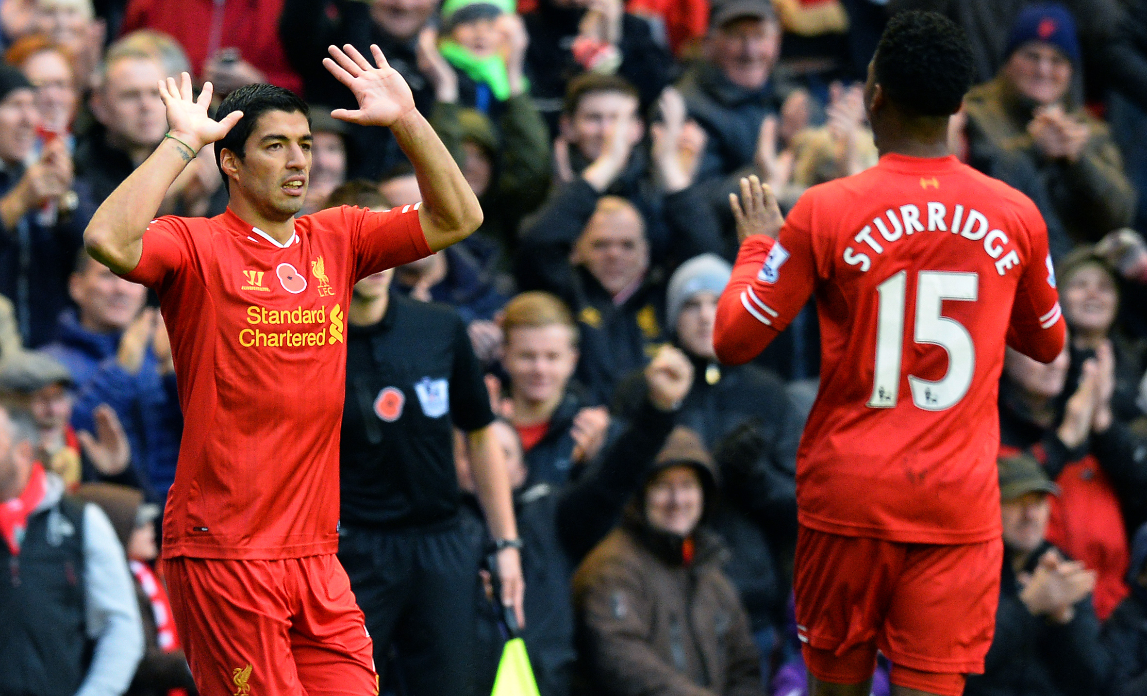 Liverpool strikers Luis Suarez and Daniel Sturridge