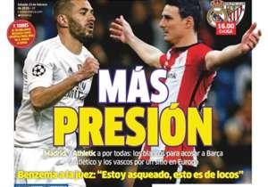 MARCA | España | Más presión. Real Madrid vs Athletic Club: Los blancos buscan acosar a Barcelona y Atlético de Madrid; los leones, un sitio en Europa