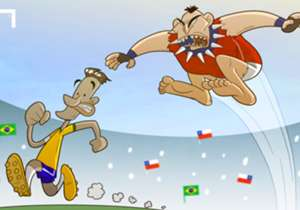 Après la terrible semelle de Gary Medel sur Neymar lors du match amical entre le Chili et le Brésil dimanche après-midi, notre dessinateur représente le frêle brésilien tentant d'échapper à l'ogre chilien.