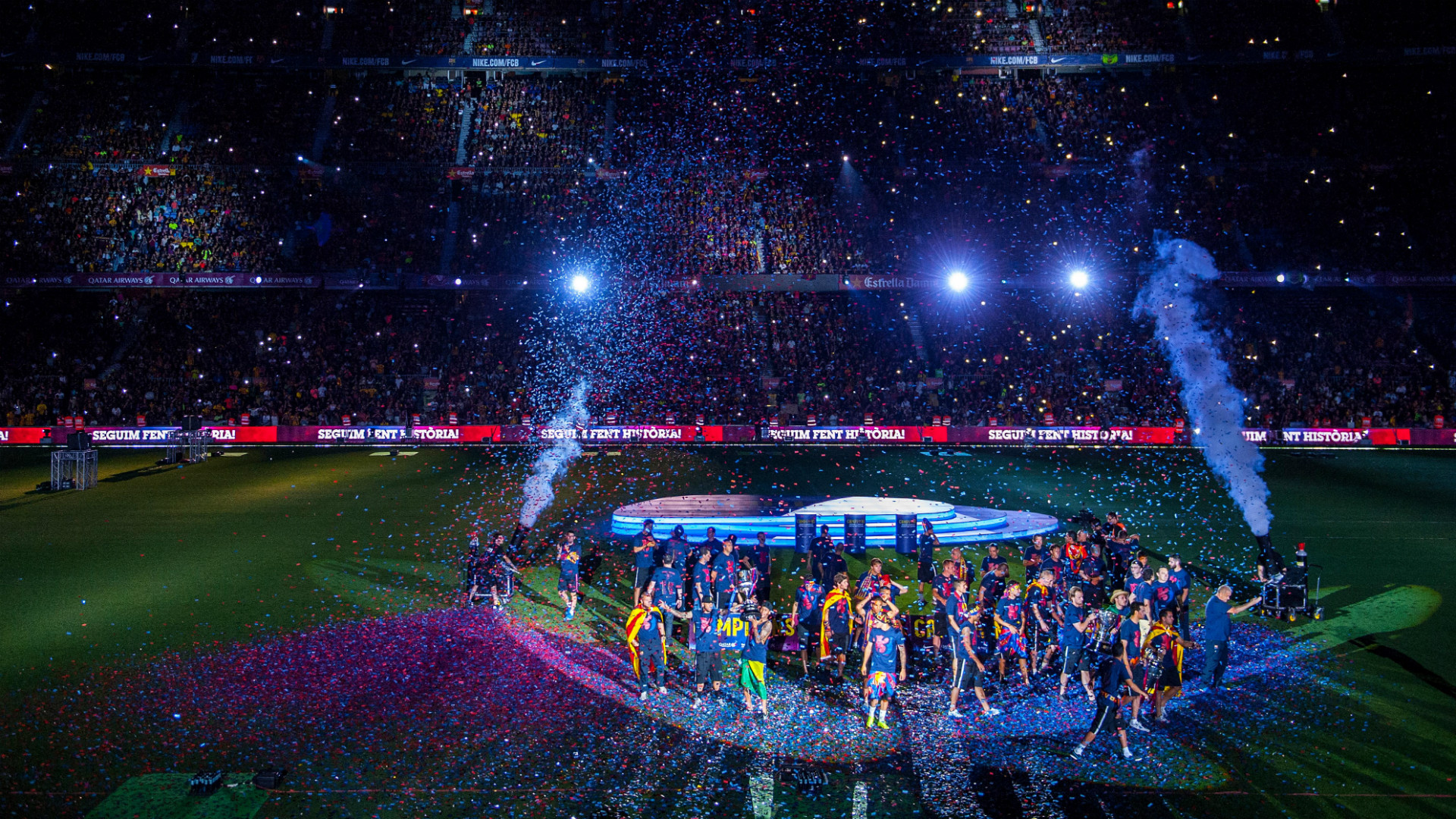 Fondos De Pantalla Camp Nou España El Fc Barcelona: Barcelona Treble Celebration Camp Nou