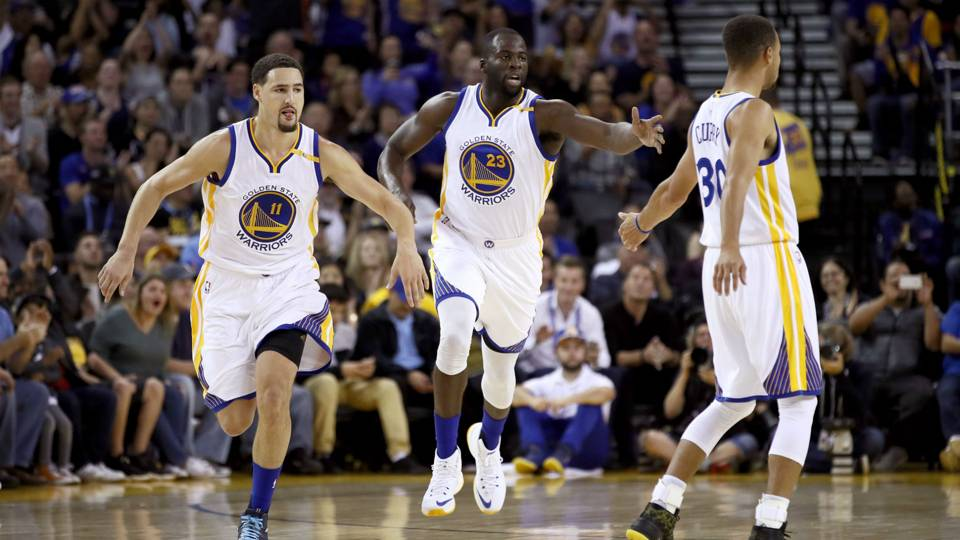 lay Thompson, Draymond Green, Stephen Curry Los Angeles Clippers v Golden State Warriors NBA 04102016