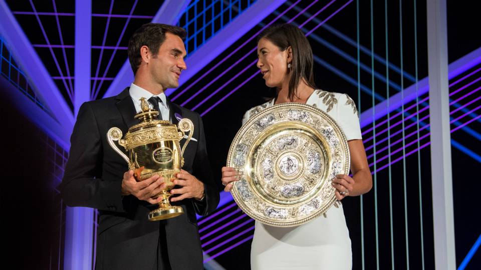 Garbiñe Muguruza Roger Federer Champions Dinner The Championships Wimbledon 16072017