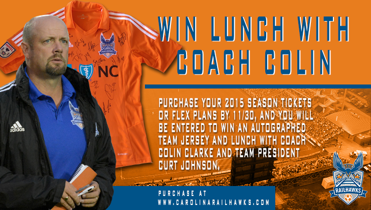Win a Lunch with RailHawks Head Coach Colin Clarke