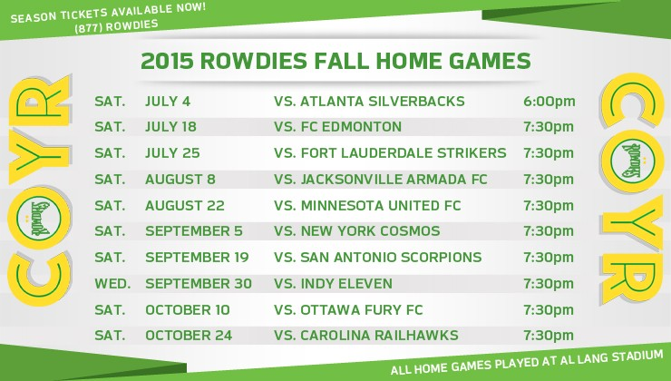 NASL Releases 2015 Fall Season Schedule