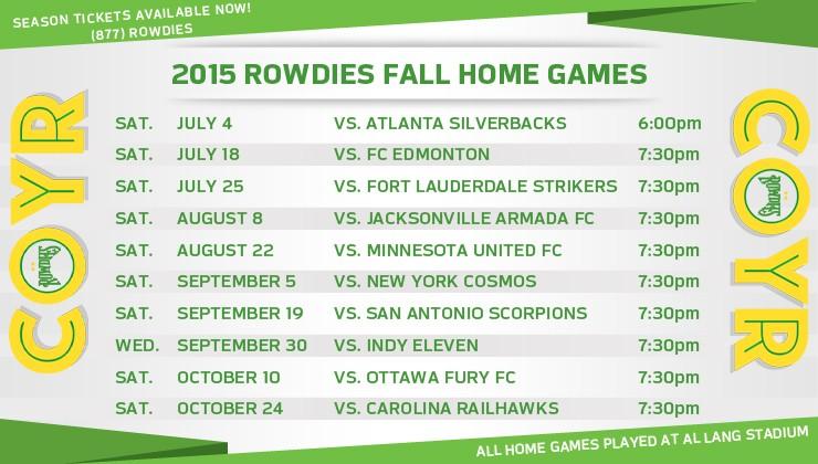 NASL Releases 2015 Fall Season Schedule