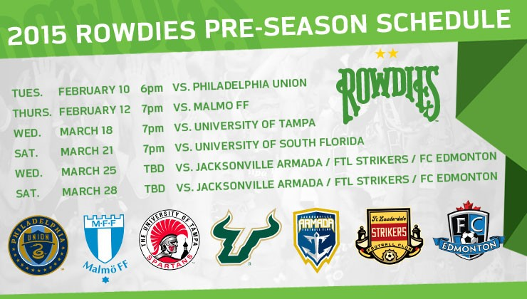 Rowdies Announce First Set of 2015 Preseason Matches