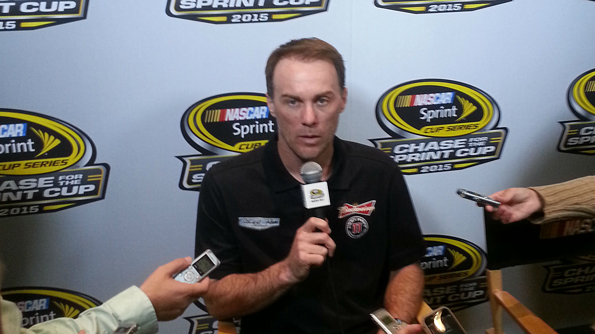 Kevin Harvick speaking at NASCAR Hall of Fame