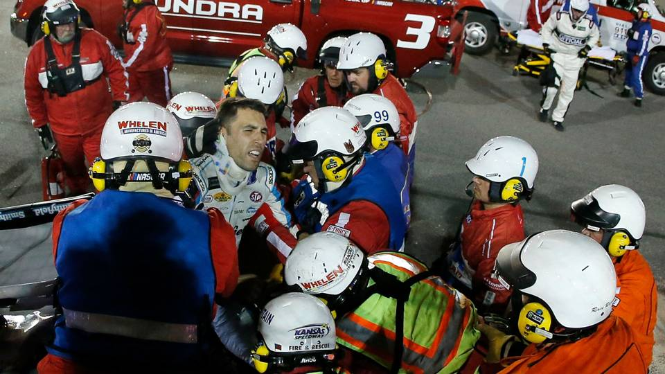 Nascar At Kansas Aric Almirola Airlifted After Fiery
