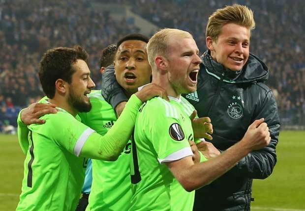 Ajax celebrate in Schalke