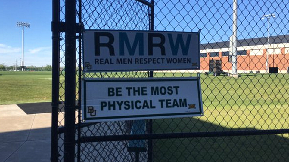 Baylor football posts 'Real men respect women' signs at practice field