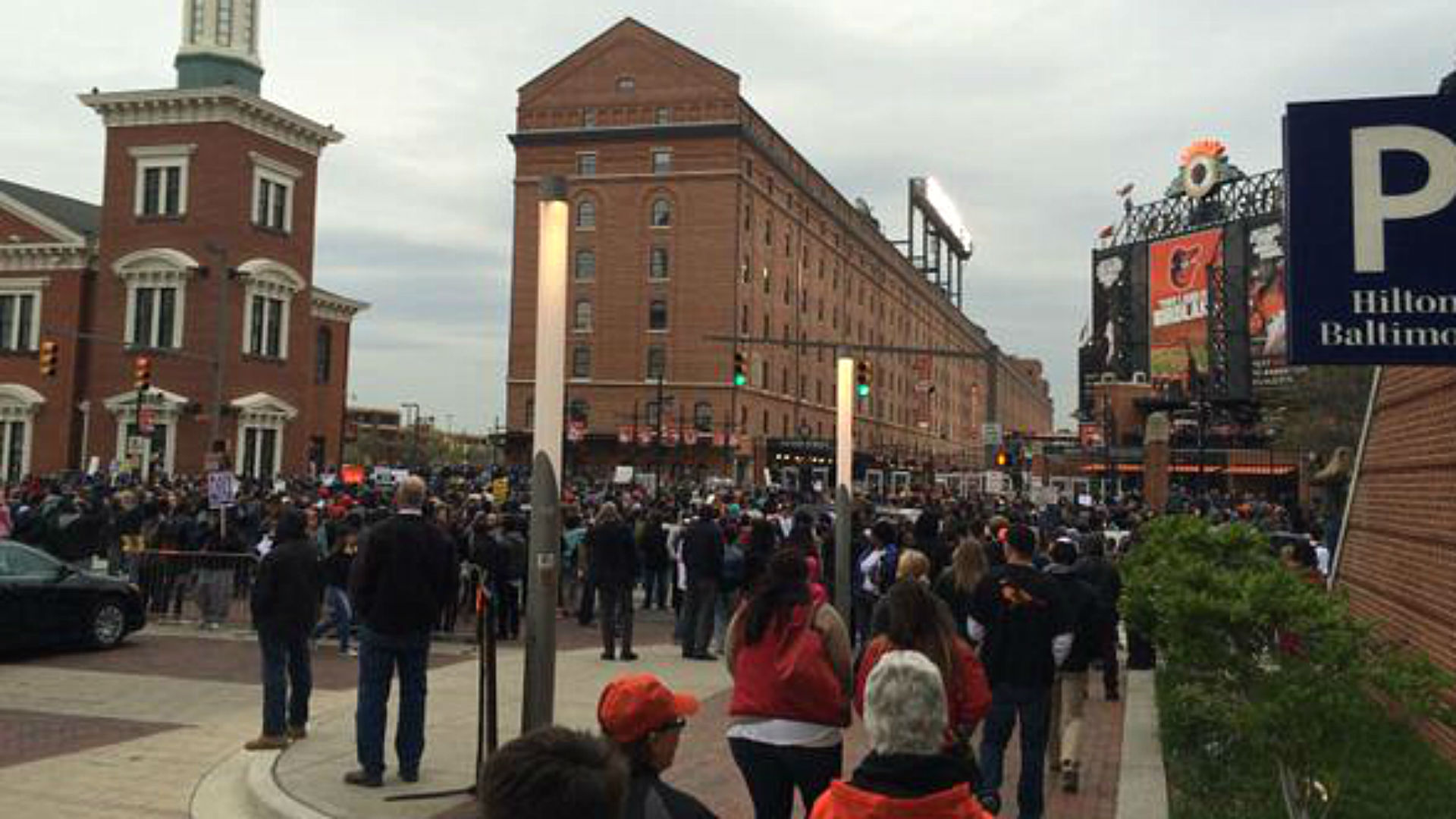 Protesters gather outside Camden Yards