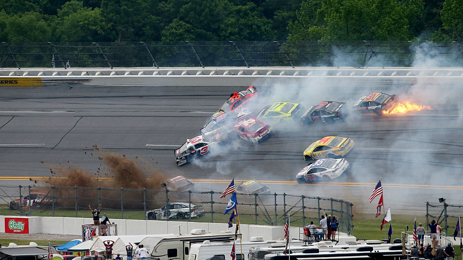 Watch: The 'Big One' collects Busch, Truex, brings out red flag at Talladega