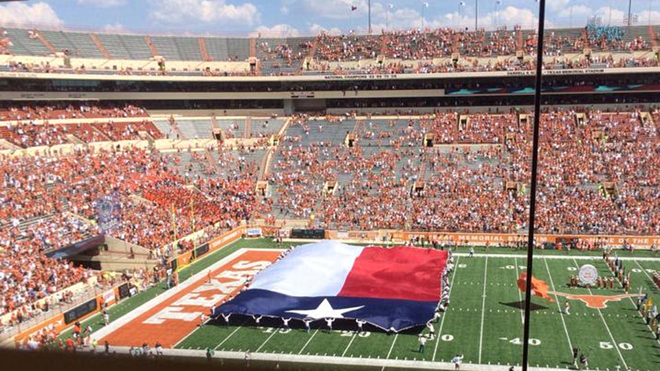 Fans at Darrell K Royal-Texas Memorial Stadium just before kickoff