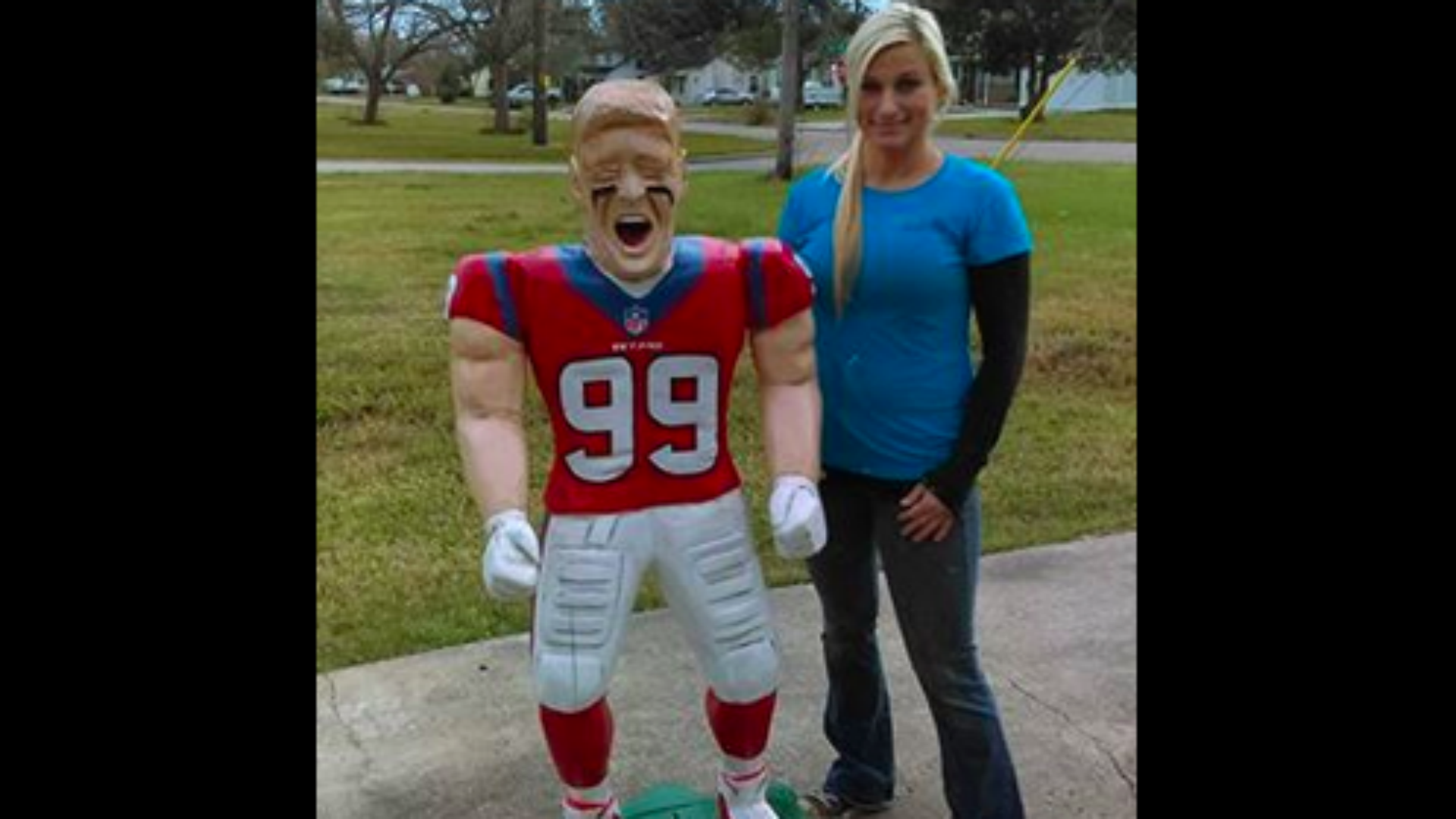 Texas woman carves J J Watt wooden statue with chainsaw