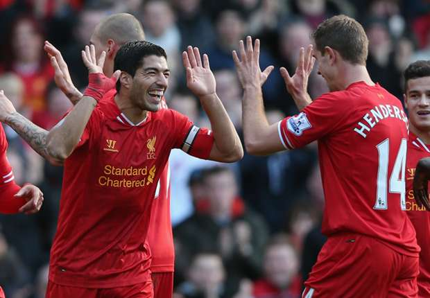 Luis Suarez's sensational form this season has helped to spearhead the Reds' title bid.