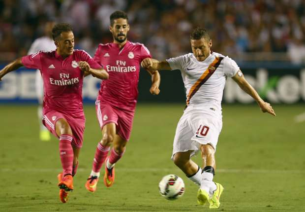 Francesco Totti in action against Real Madrid