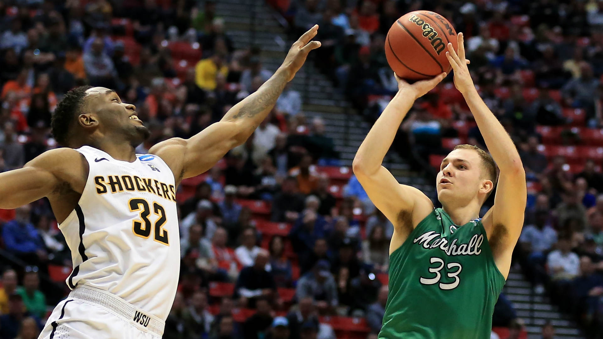 Elmore's 27 lead 13th-seeded Marshall over Wichita St 81-75
