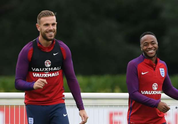 Jordan Henderson and Raheem Sterling on England duty