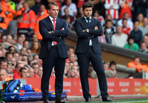 Brendan Rodgers, left, and Mauricio Pochettino