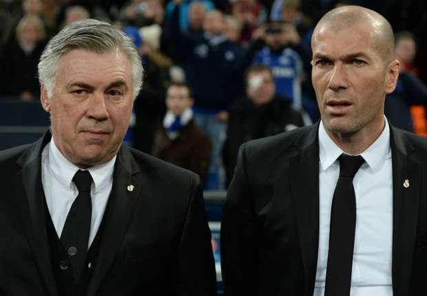 Pelatih Real Madrid Zinedine Zidane akan menantang gurunya, yakni pelatih Bayern Muenchen Carlo Ancelotti, di perempat final Liga Champions. (Perform Group)