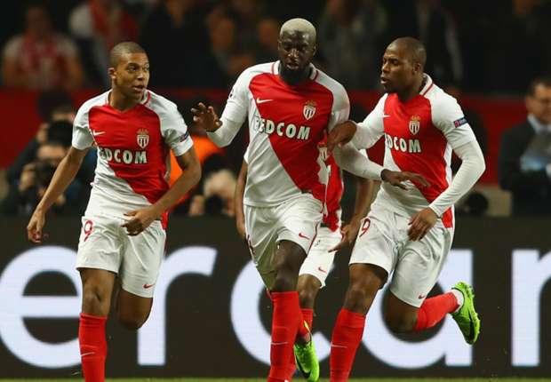 Monaco celebrate Kylian Mbappe's opener