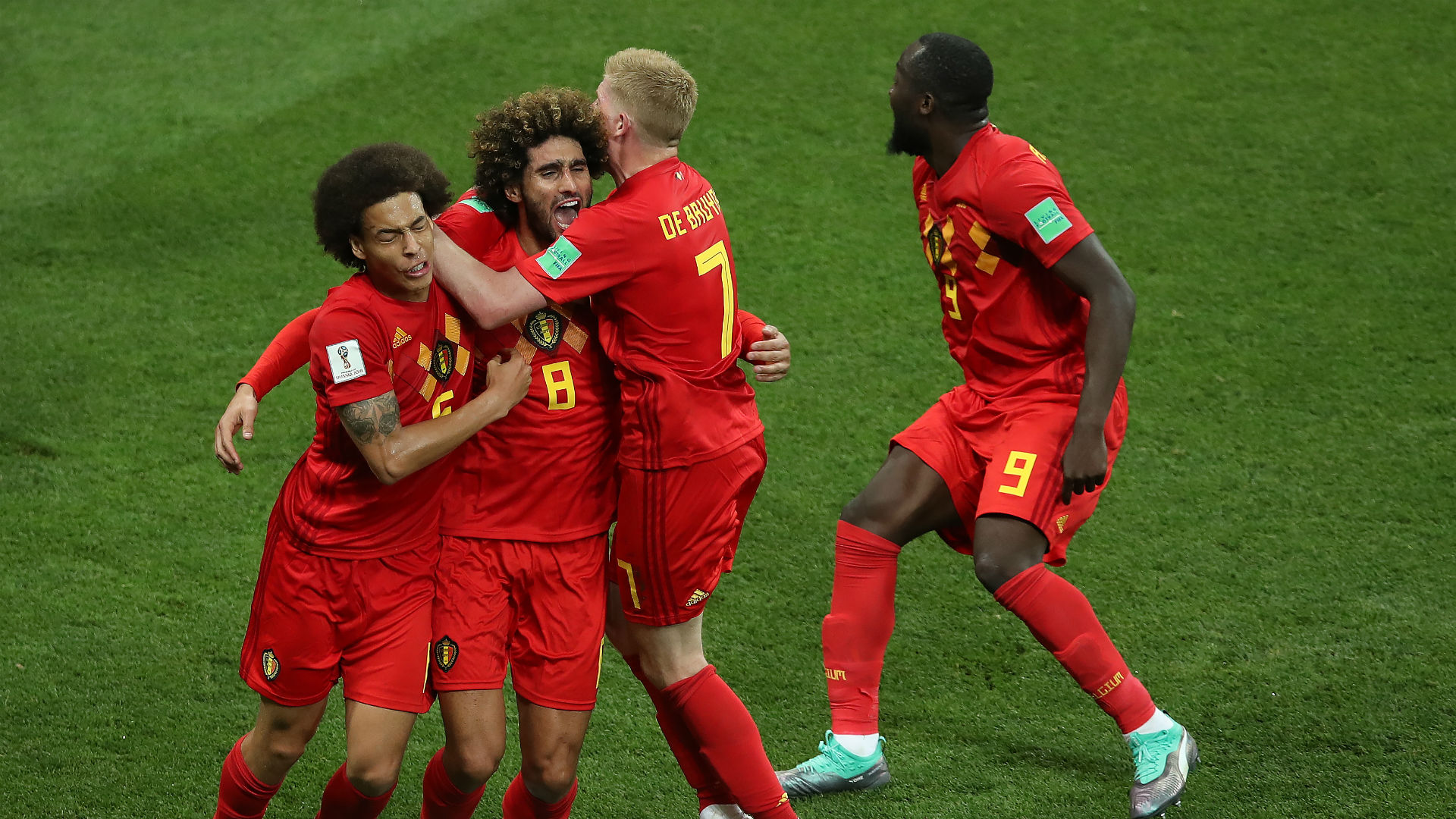 Belgium celebrate against Japan