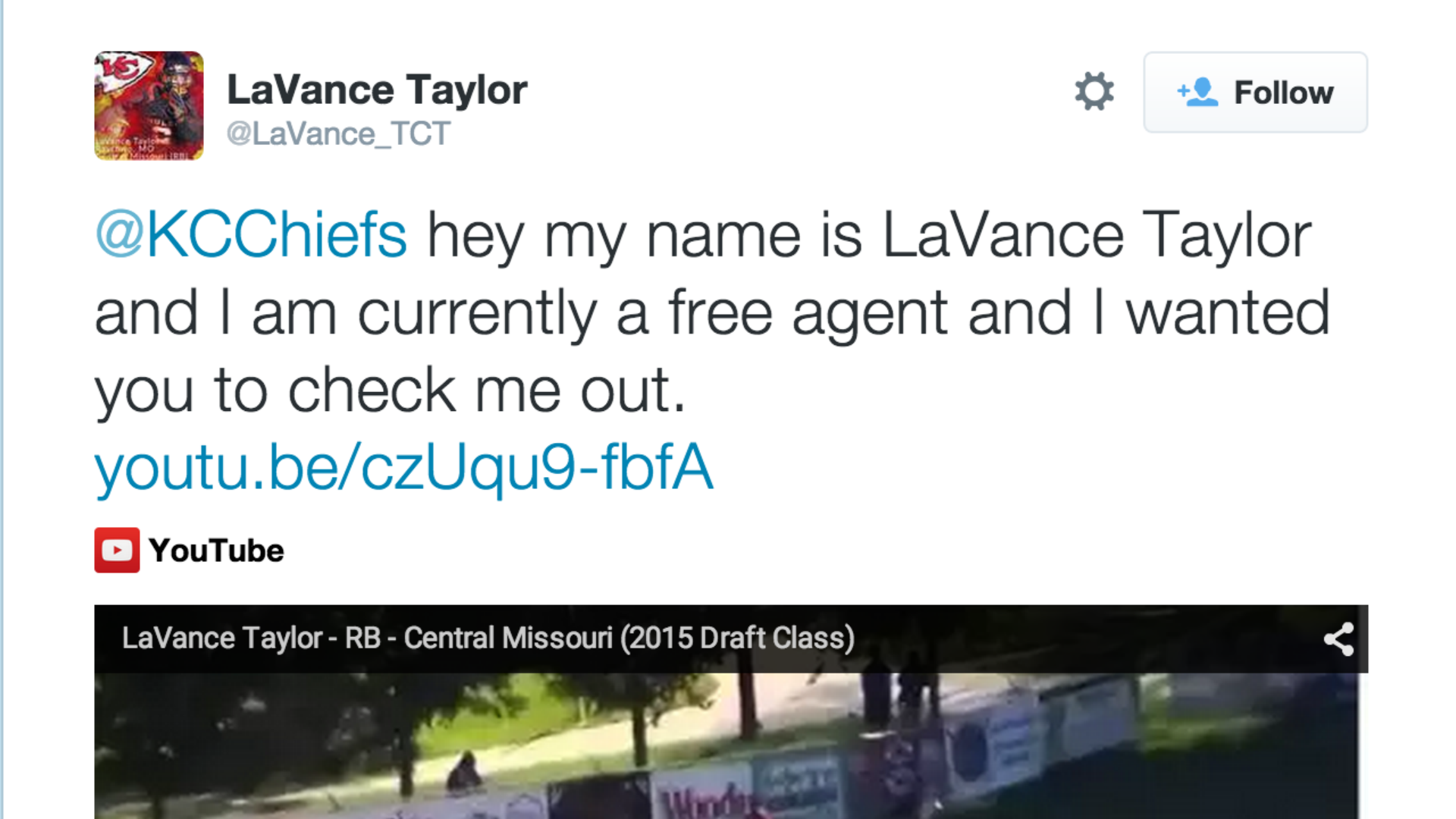 After tweeting to Chiefs, LaVance Taylor gets a contract