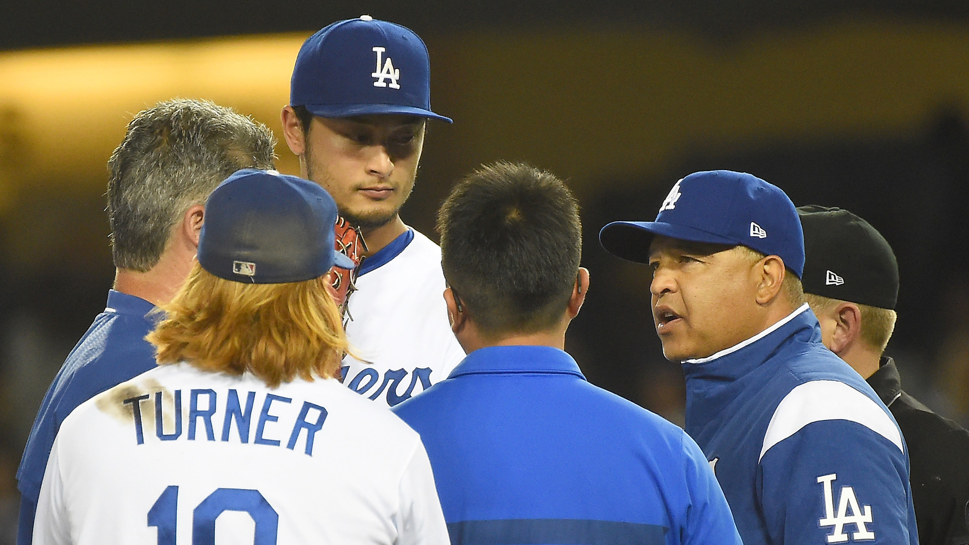 Yu Darvish leaves Dodgers' home debut after visit with trainer