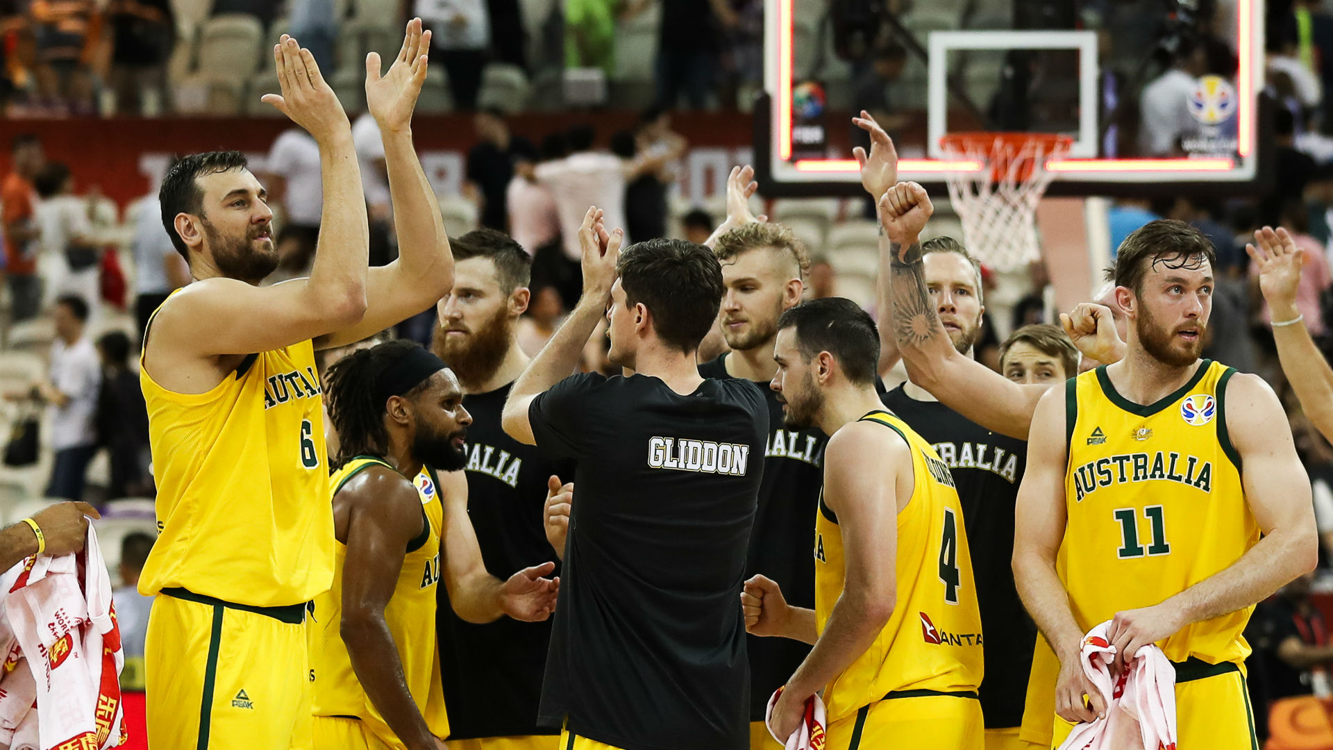 Australia celebrate reaching the FIBA World Cup semi-finals
