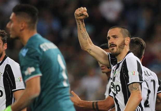 Coppa Italia: Juventus' Leonardo Bonucci reacts to winAS Roma - Coppa Italia - Gianluigi Buffon - Juventus FC - Leonardo Bonucci - Real Madrid CF - Serie A - SS Lazio - Stadio Olimpico - UEFA Champions League