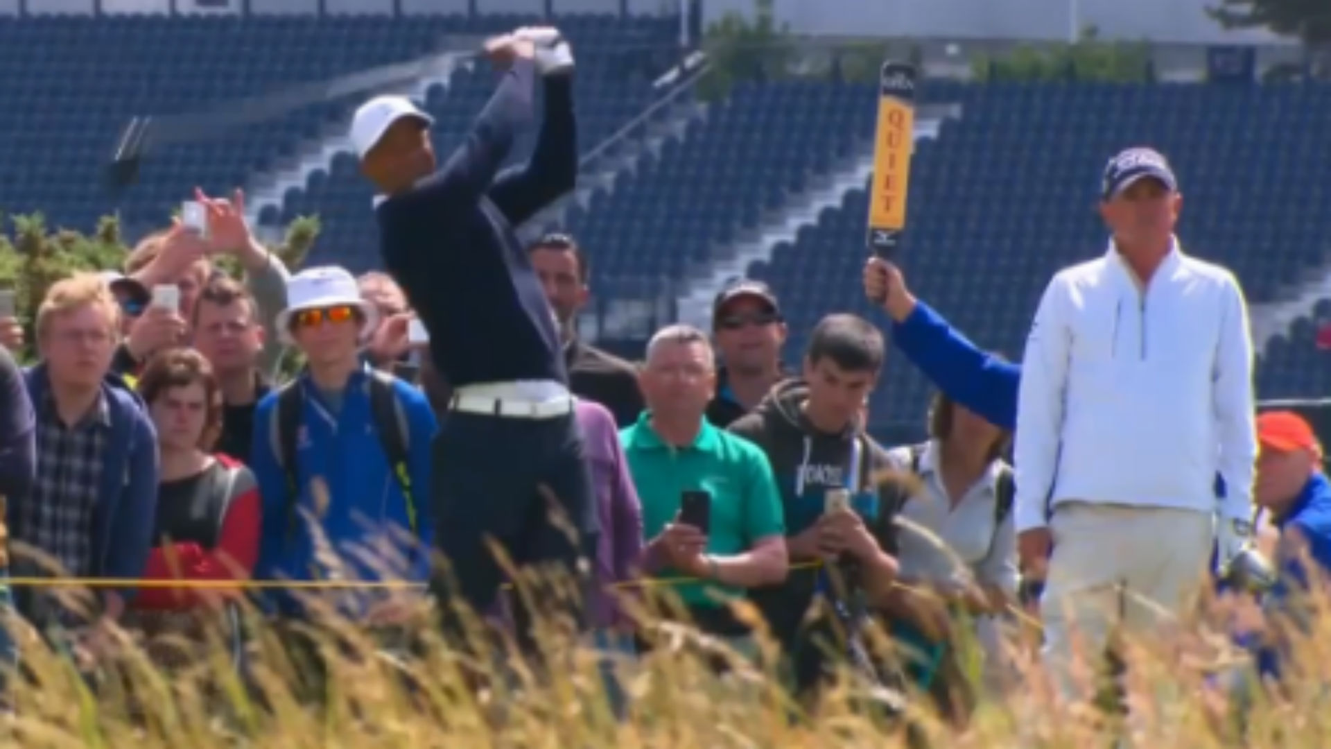 Tiger Woods and Jason Dufner on Sunday at St. Andrews