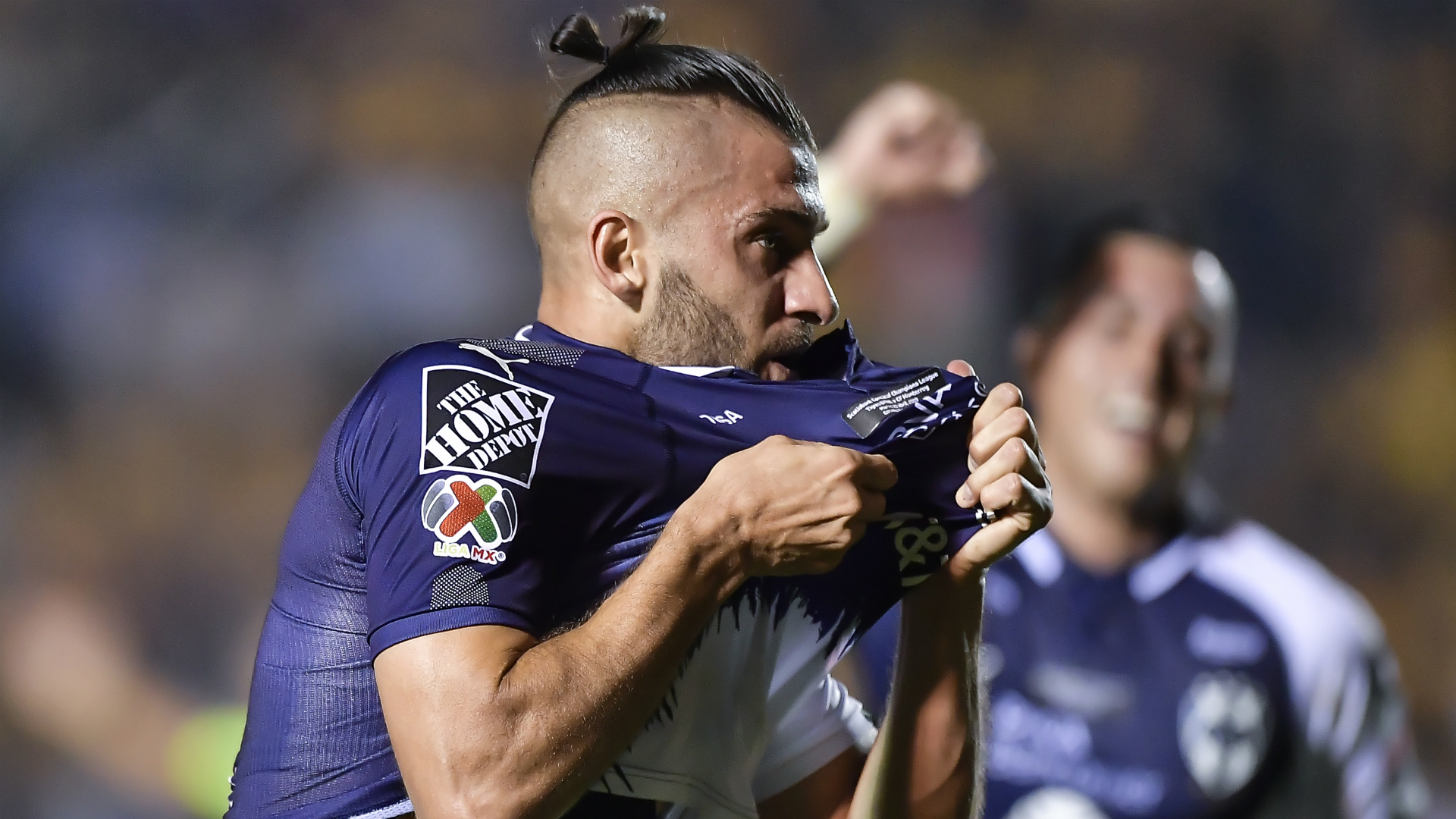Nicolas Sanchez celebrates his goal against Tigres UANL