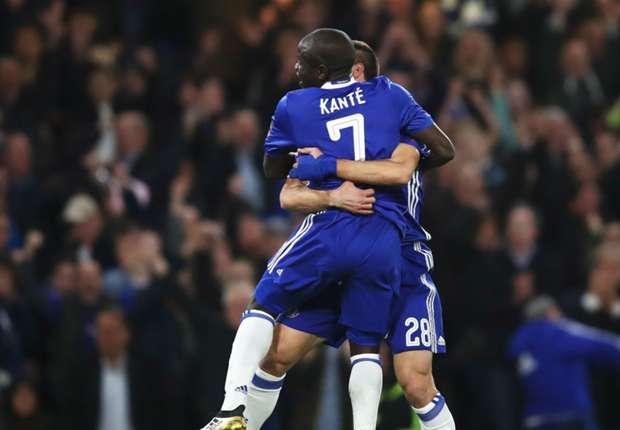 N'Golo Kante celebrates scoring for Chelsea against Manchester United