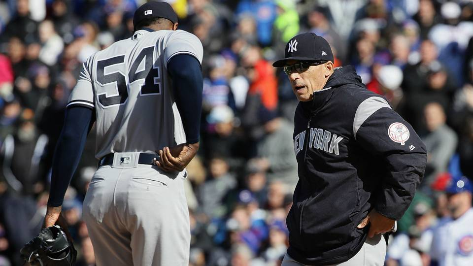 Aroldis Chapman (left) and Joe Girardi