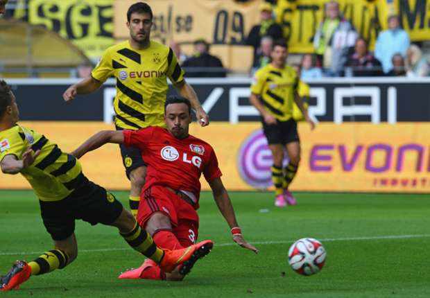 Bayer Leverkusen midfielder Karim Bellarabi scoring