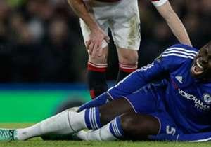 Chelsea defender Kurt Zouma in agony after sustaining knee injury