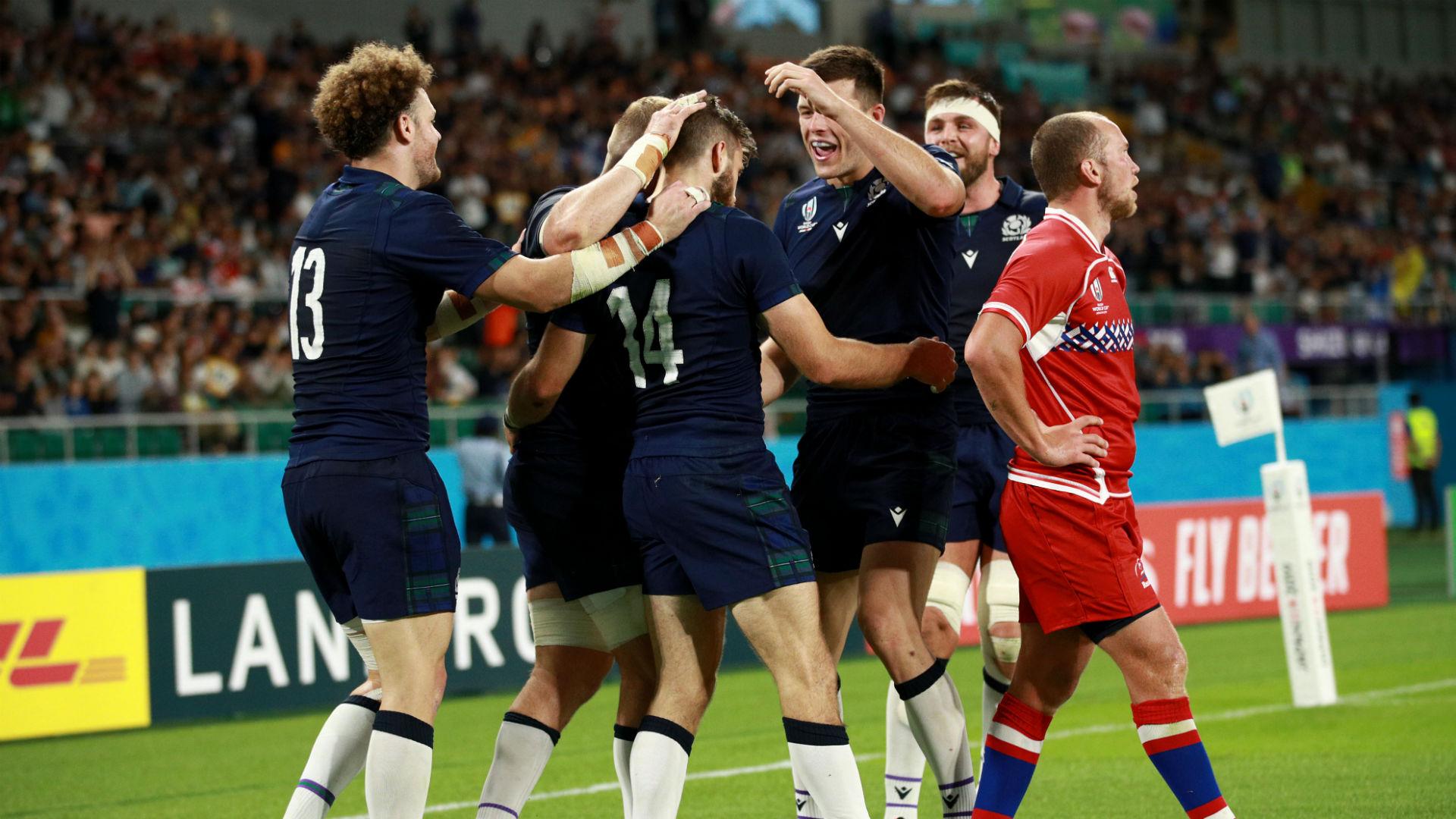 Scotland celebrate against Russia