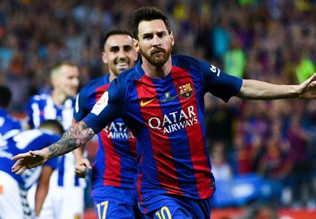 Lionel Messi celebrates for Barcelona in the Copa del Rey final