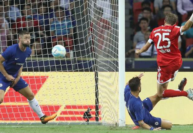 Thomas Muller scores for Bayern Munich against Chelsea