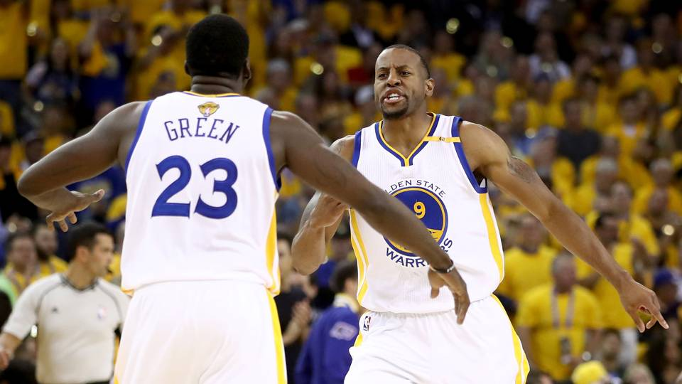 Draymond Green (23) and Andre Iguodala.
