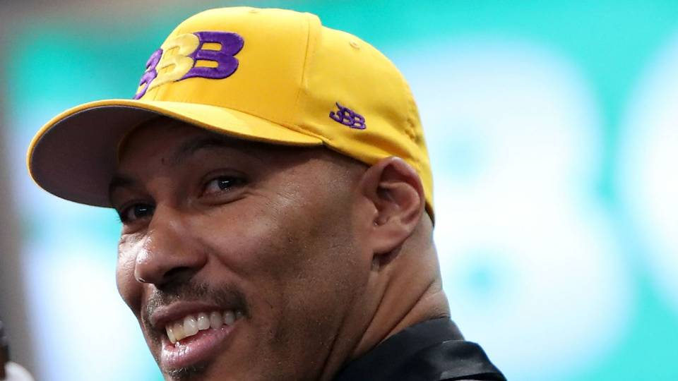NBA Draft 2017  LaVar Ball had Big Baller Brand hat ready in Lakers ... 12c68315635