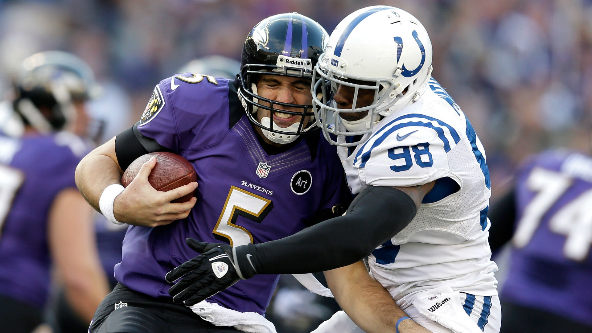 Robert Mathis sacks Joe Flacco