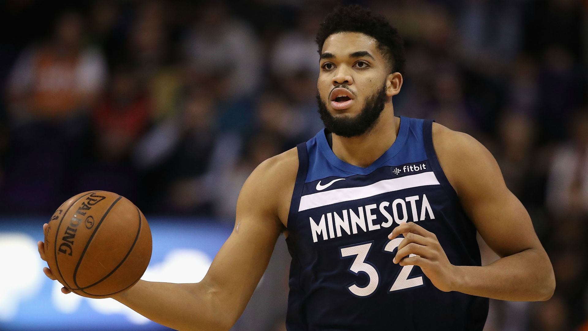 Karl Anthony-Towns balling out in first game after scary accident