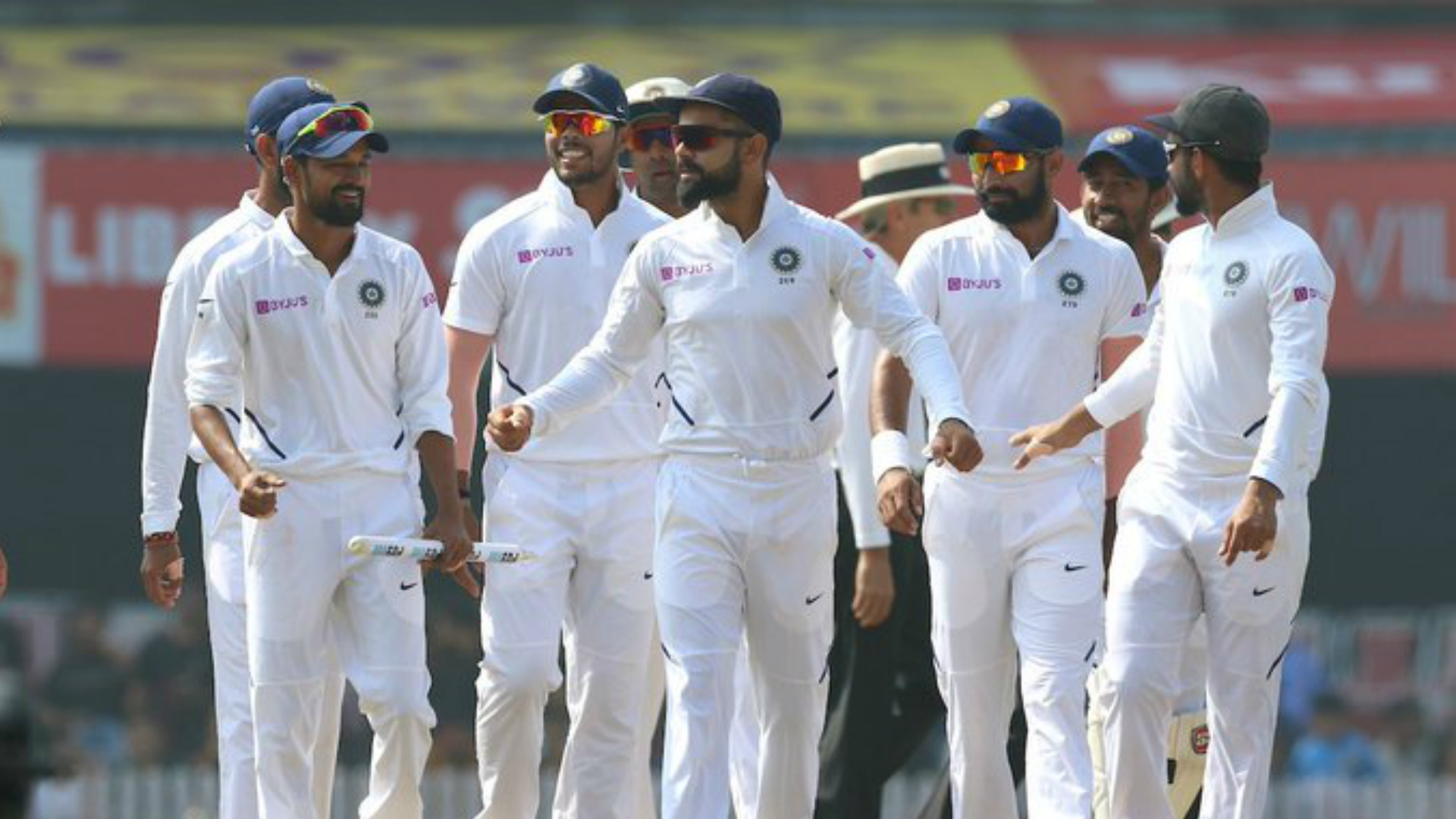 India celebrate victory in the third Test